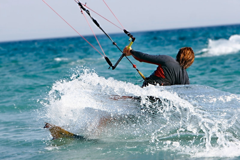 Feche acima do kitesurfer fotografia de stock