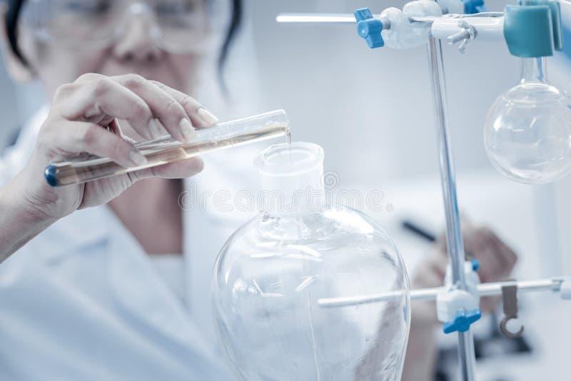 Feche acima do líquido de derramamento do cientista durante a experiência química imagem de stock
