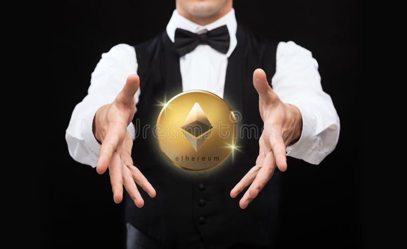Feche acima do mágico com moeda do ethereum fotografia de stock royalty free