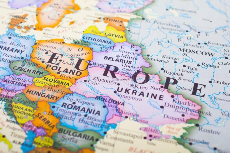 Feche acima do mapa de Europa fotos de stock royalty free