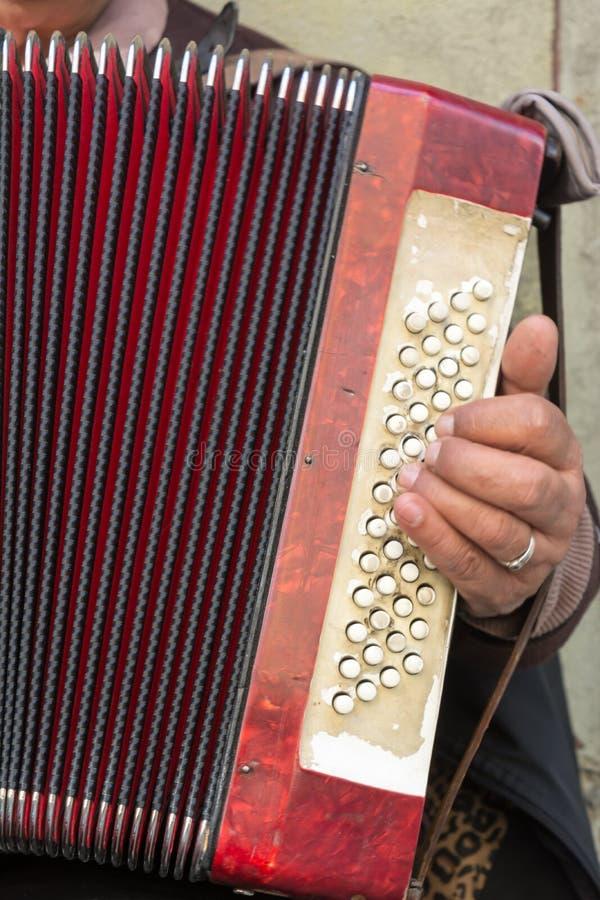 Feche acima do mendigo idoso Woman Playng um acordeão sujo no estreptococo fotos de stock royalty free