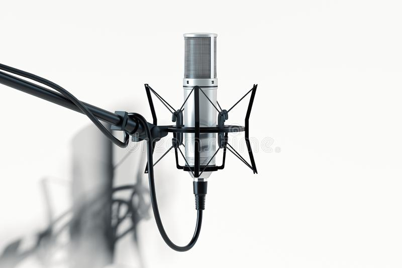 Feche acima do microfone estabelecido isolado no fundo branco rendição 3d ilustração do vetor