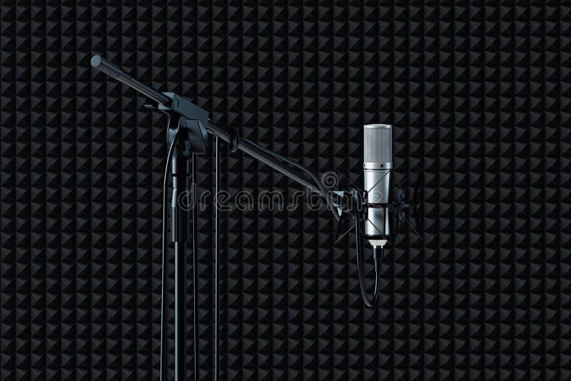 Feche acima do microfone estabelecido isolado no fundo preto rendição 3d ilustração do vetor