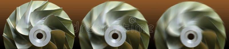 Feche acima do motor de turbojato da tecnologia do plano, do motor de gás, da tecnologia da turbina para a máquina ou do gerador ilustração do vetor