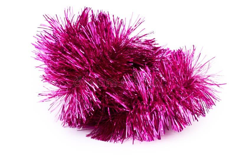 Feche acima do ouropel macio cor-de-rosa do Natal fotos de stock royalty free