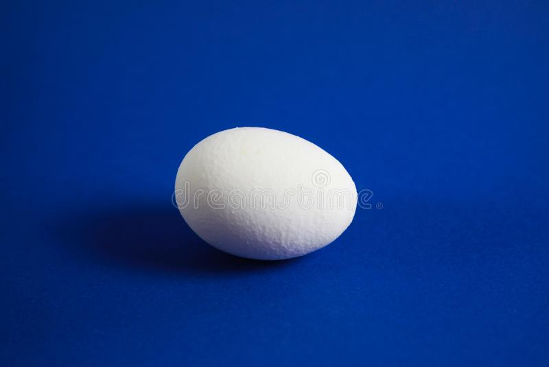 Feche acima do ovo isolado com fundo azul imagem de stock royalty free