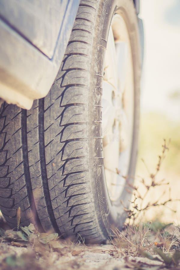 Feche acima do pneumático no deserto, safari do carro imagens de stock