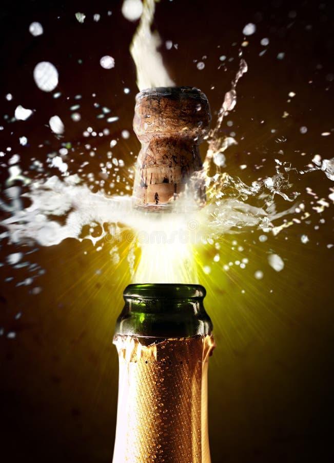 Feche acima do PNF da cortiça do champanhe fotografia de stock royalty free