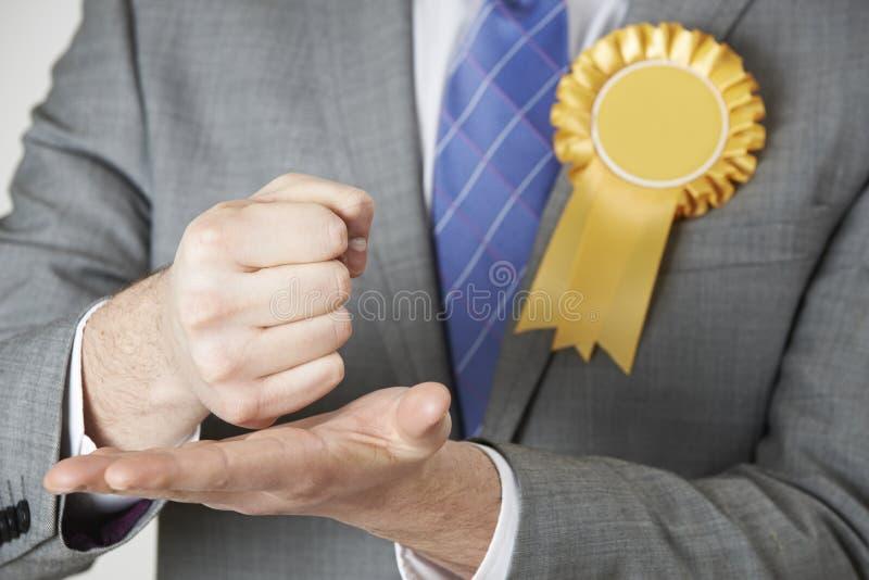 Feche acima do político Making Passionate Speech fotografia de stock
