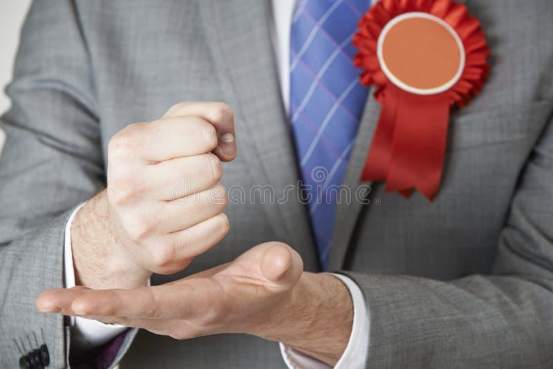 Feche acima do político Making Passionate Speech imagem de stock