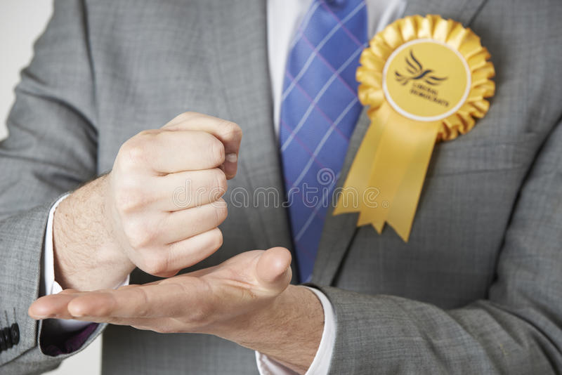 Feche acima do político Making Passionate Speech de Democrata liberal foto de stock