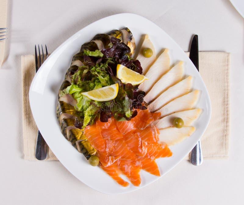 Feche acima do prato principal Meaty gourmet imagem de stock royalty free