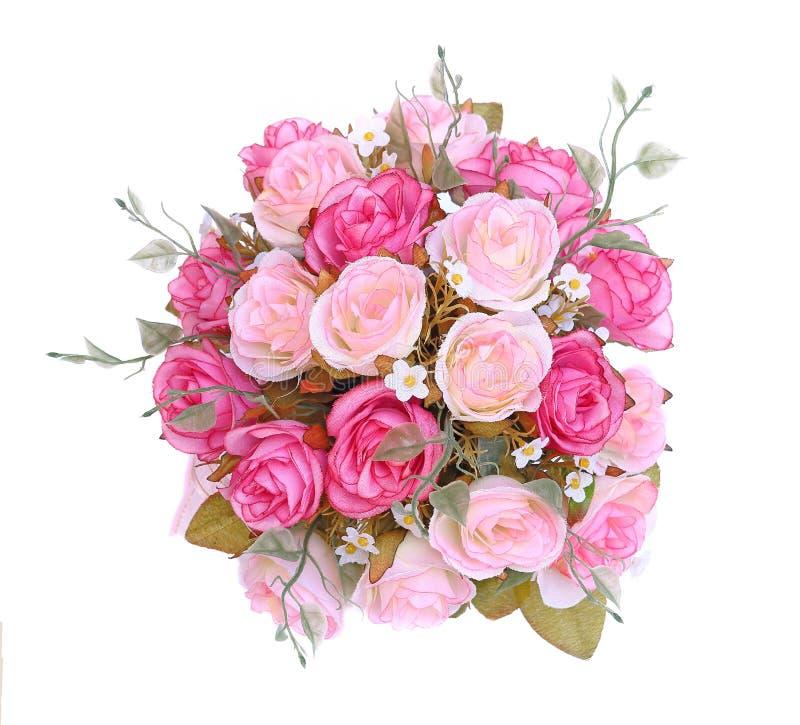 Feche acima do ramalhete cor-de-rosa das rosas de cima de imagens de stock