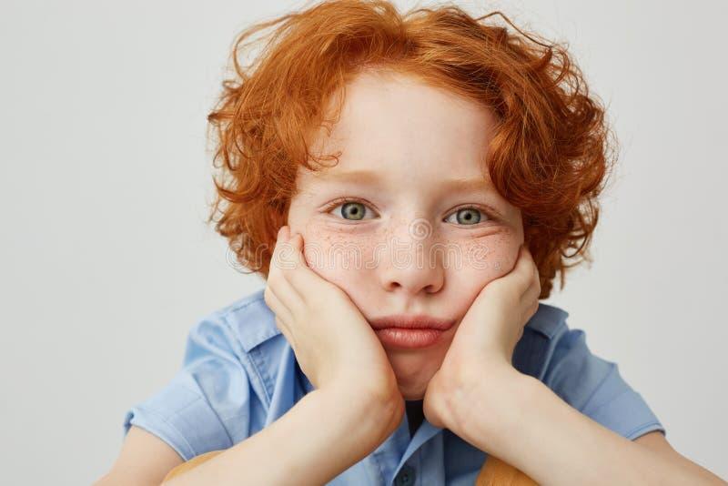 Feche acima do rapaz pequeno do gengibre com sardas e cabelo encaracolado, guardando principal com ambas as mãos que olham in cam imagens de stock