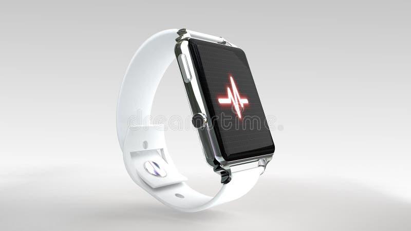 Feche acima do relógio esperto azul com ícone do app da aptidão na tela imagem de stock royalty free