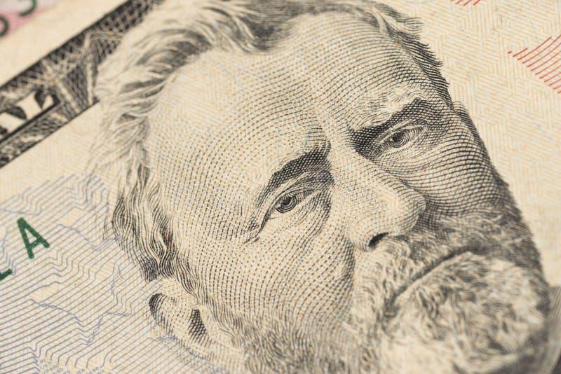Feche acima do retrato da vista de Ulysses S Grant na uma nota de d?lar cinq??nta Fundo do dinheiro fotos de stock royalty free