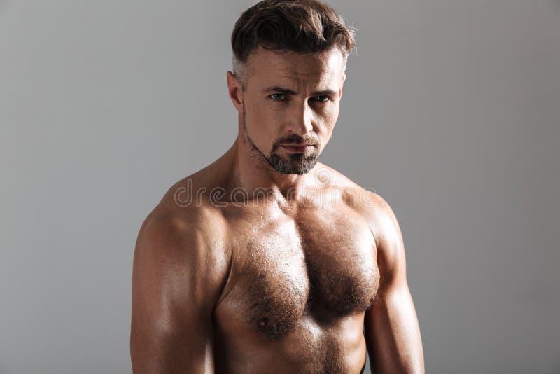 Feche acima do retrato de um desportista descamisado maduro muscular fotografia de stock royalty free