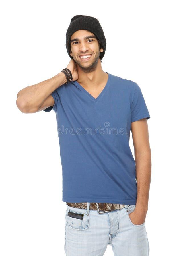 Feche acima do retrato de um homem feliz com chapéu negro imagens de stock royalty free