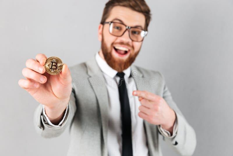 Feche acima do retrato de um homem de negócios feliz foto de stock royalty free
