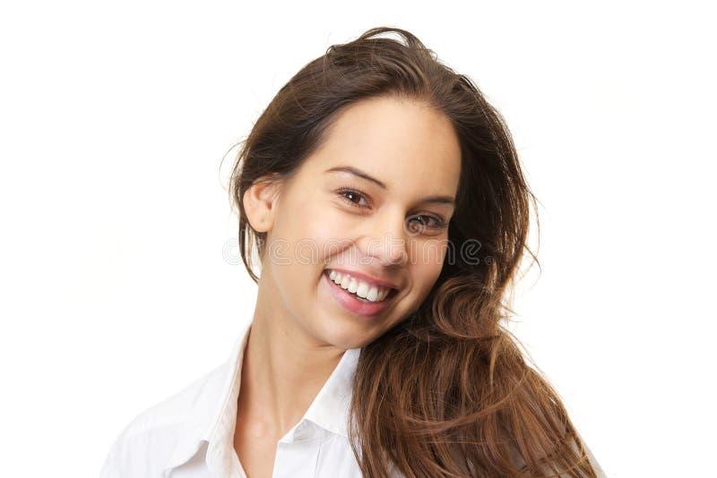 Feche acima do retrato de um sorriso bonito da jovem mulher fotografia de stock royalty free