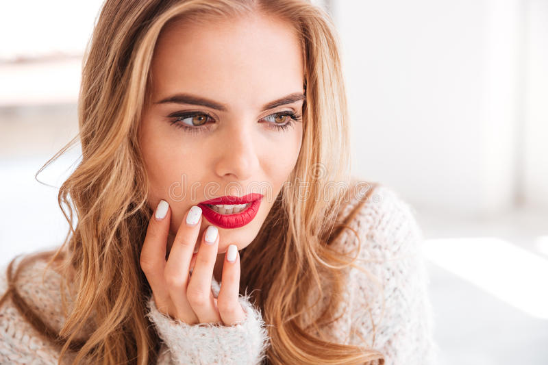 Feche acima do retrato de uma mulher encantador com batom vermelho fotos de stock