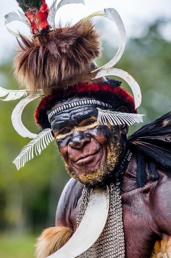 Feche acima do retrato de Yali Mabel, chefe do tribo de Dani fotografia de stock