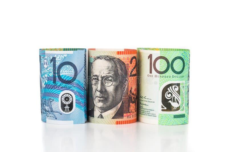 Feche acima do rolado acima da nota da moeda do dólar australiano imagem de stock royalty free