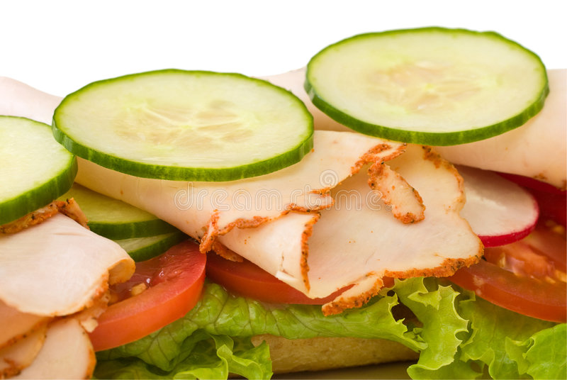 Feche acima do sanduíche de peru roasted imagem de stock royalty free