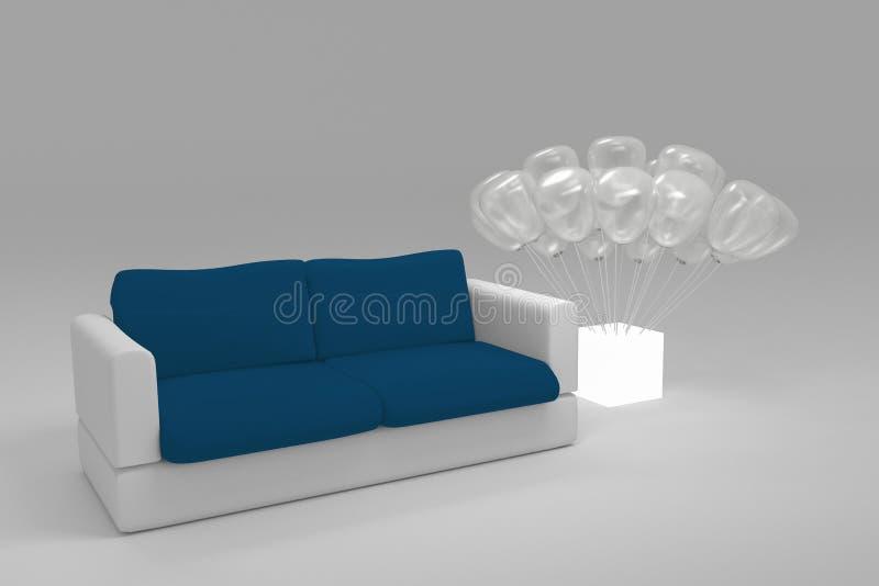 Feche acima do sofá moderno poligonal azul e branco do estilo com o balão translúcido plantado em uma caixa leve branca no lado e ilustração stock
