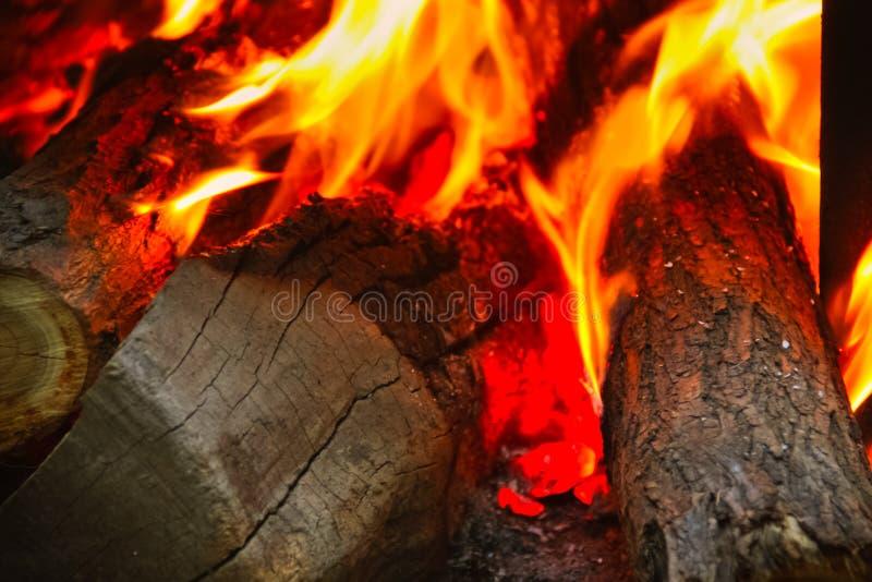 Feche acima do tiro de lenha ardente imagens de stock royalty free