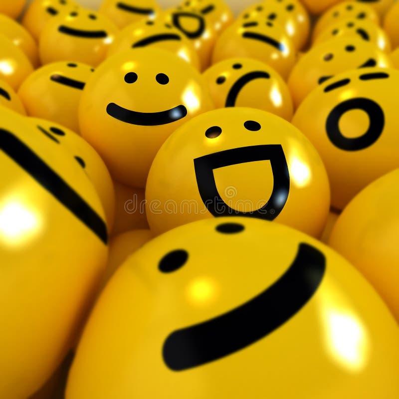 Feche acima do tiro em emoticons amarelos ilustração stock