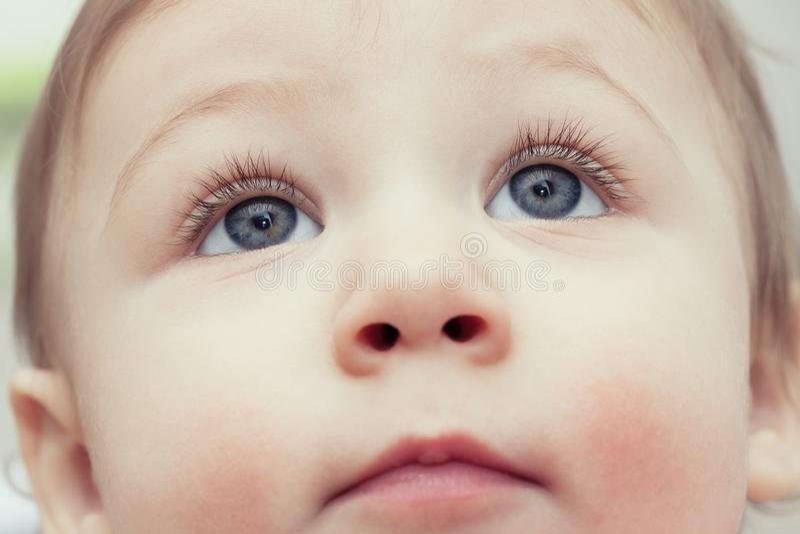 Feche acima dos olhos azuis do ` s da jovem criança que olham acima - o fundo do conceito dos cuidados médicos da criança imagens de stock royalty free