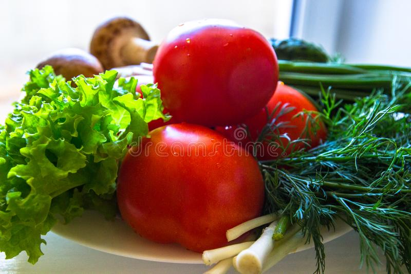 Feche acima dos vegetais suculentos, pepino, tomates, cogumelos frescos, cebolas foto de stock