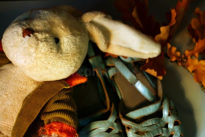 Feche acima em um brinquedo enchido velho do luxuoso do coelho que encontra-se em um par de sand?lias coloridas pasteis p?lidas imagens de stock
