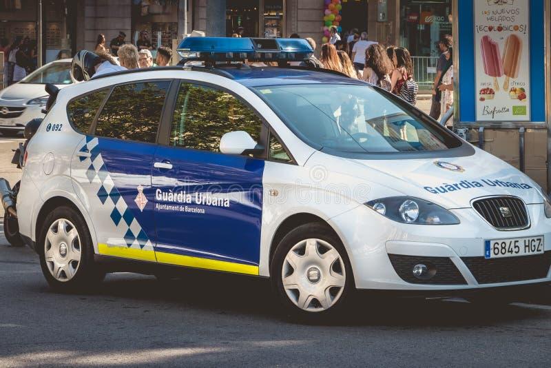 Feche acima em um carro de polícia espanhol fotografia de stock royalty free