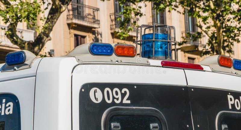 Feche acima em uma camionete de polícia espanhola imagem de stock royalty free