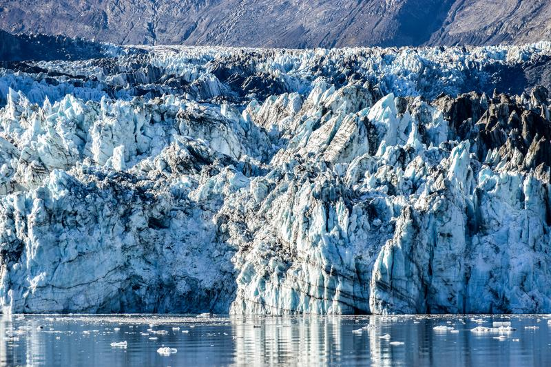 Feche acima na geleira de Johns Hopkins em Alaska fotografia de stock royalty free