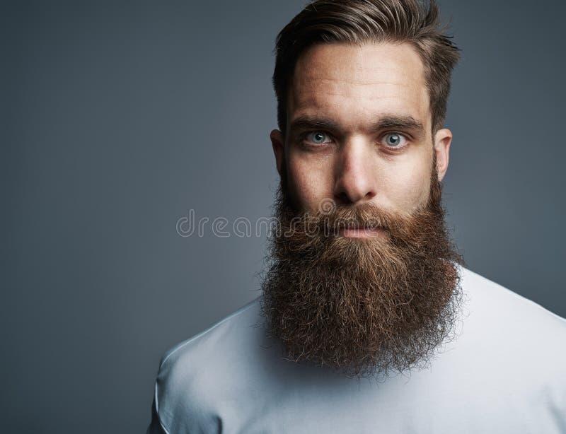 Feche acima no homem sério com barba longa imagens de stock