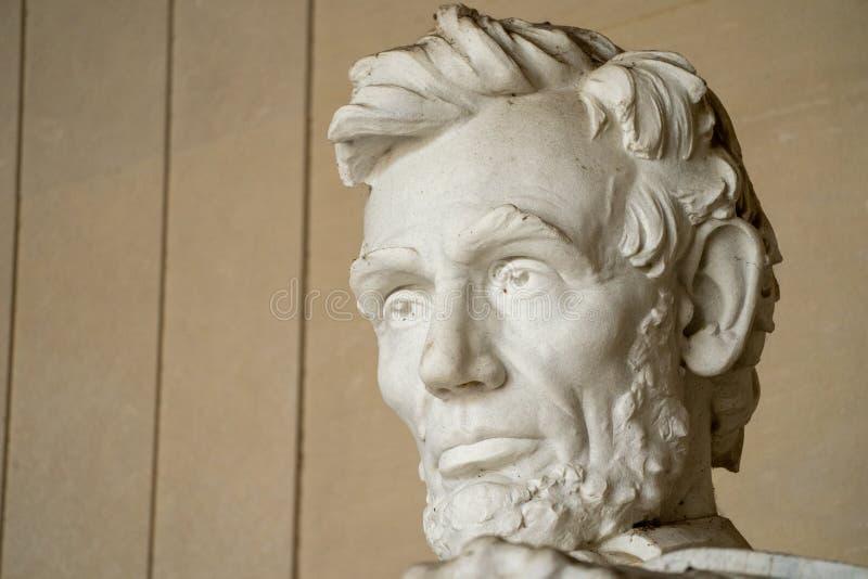 Fecho do rosto e cabeça de Abraham Lincoln no Memorial Lincoln em Washington DC imagens de stock