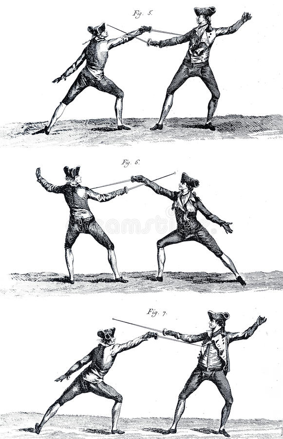 Fechten des 18. Jahrhunderts I stock abbildung