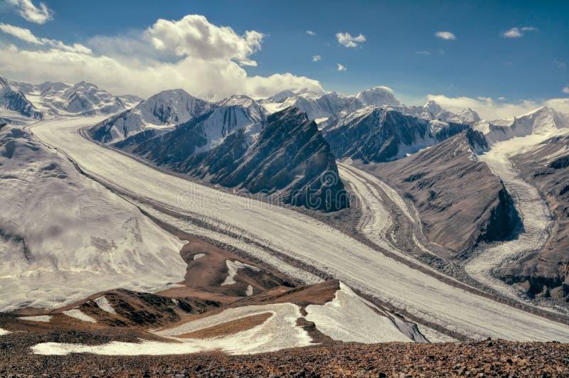 Fedchenko glacier in Tajikistan stock photography