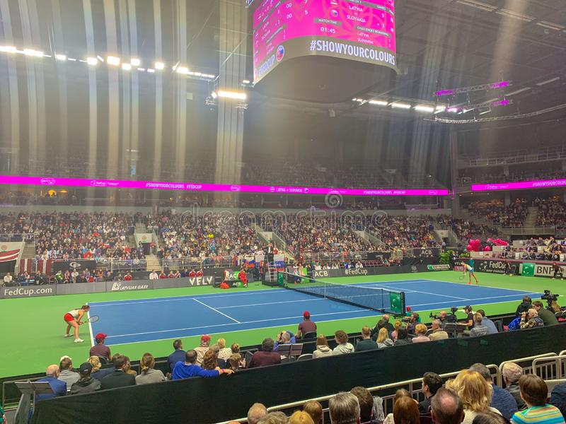 FEDCUP BNP Paribas, The World Cup of Tennis World Group II First Round game royalty free stock photo