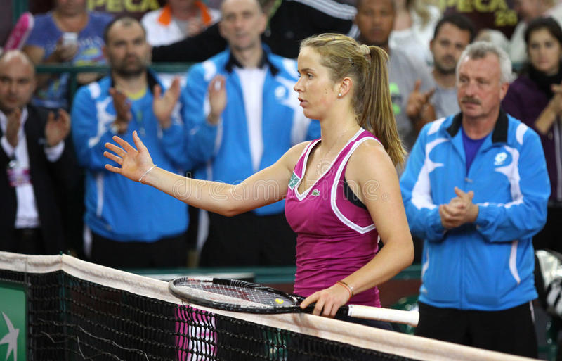 FedCup tennis game Ukraine vs Canada royalty free stock image