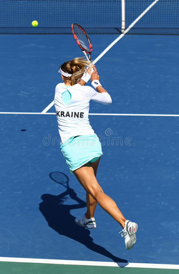 FedCup tennis match Ukraine vs Argentina. KYIV, UKRAINE - APRIL 17, 2016: Lesia Tsurenko of Ukraine in action during BNP Paribas FedCup World Group II Play-off royalty free stock images