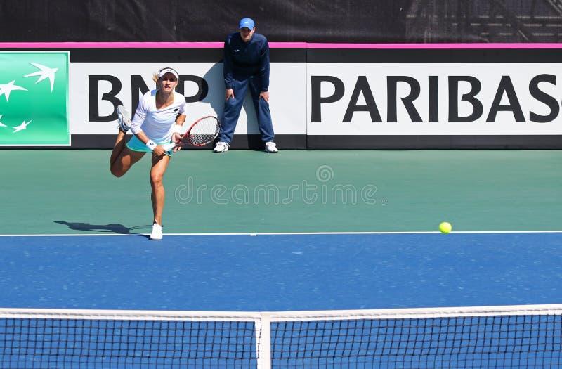 FedCup tennismatch Ukraina vs Argentina arkivfoton