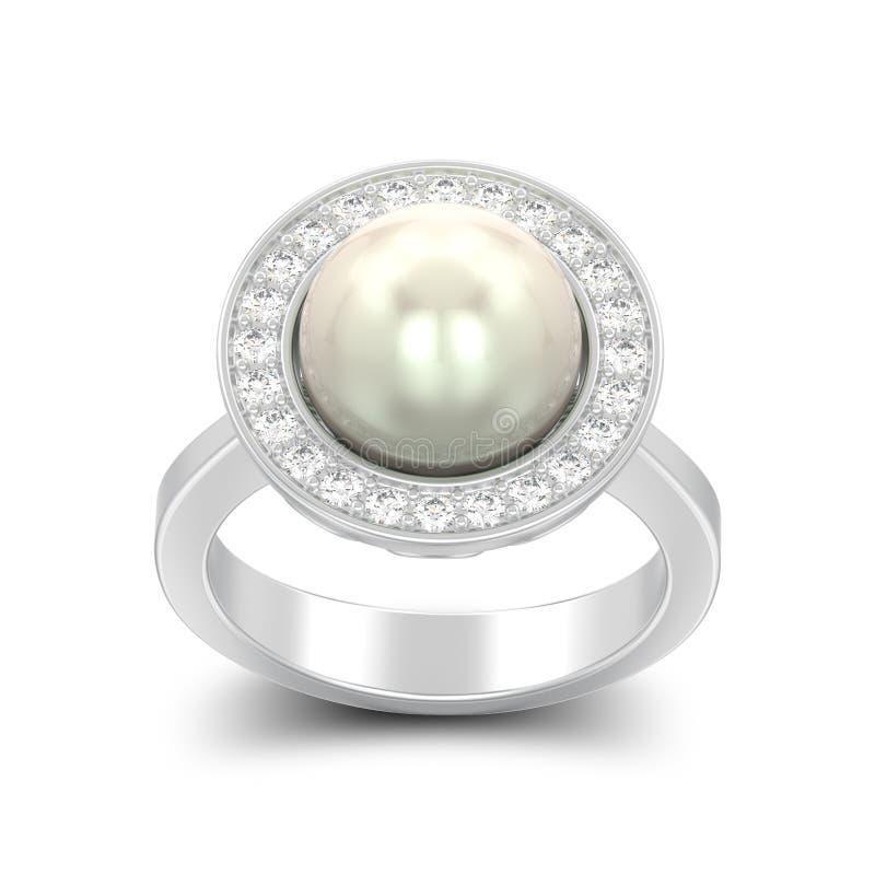 fede nuziale d'argento di impegno del diamante isolata illustrazione 3D illustrazione vettoriale