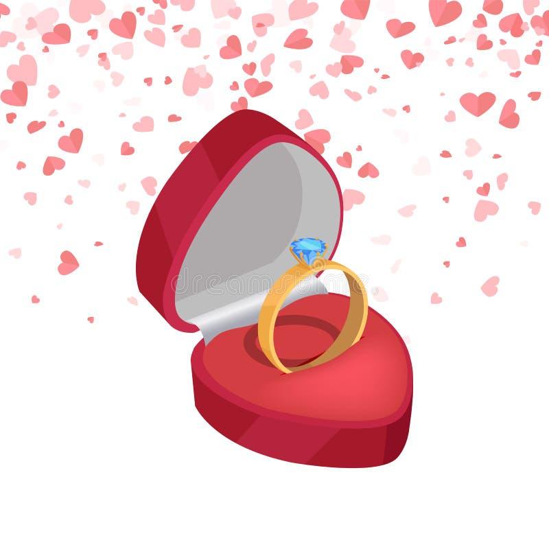 Fede nuziale, diamante nuziale nel vettore di stile 3D royalty illustrazione gratis