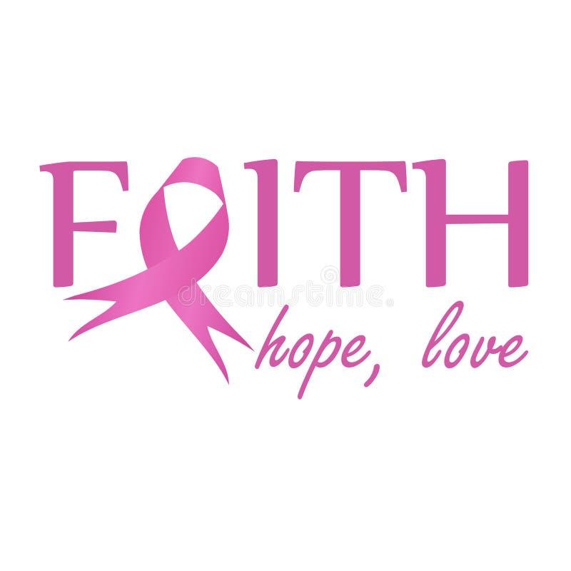 Fede, speranza, nastro rosa di amore di simbolizzare consapevolezza del cancro al seno Manifesto per autorizzare le donne che sof illustrazione vettoriale