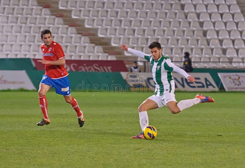 Fede Vico W(29) in action during match league Cordoba(W) vs Numancia (R). CORDOBA, SPAIN - JANUARY 13:Fede Vico W(29) in action during match league Cordoba(W) vs royalty free stock photo