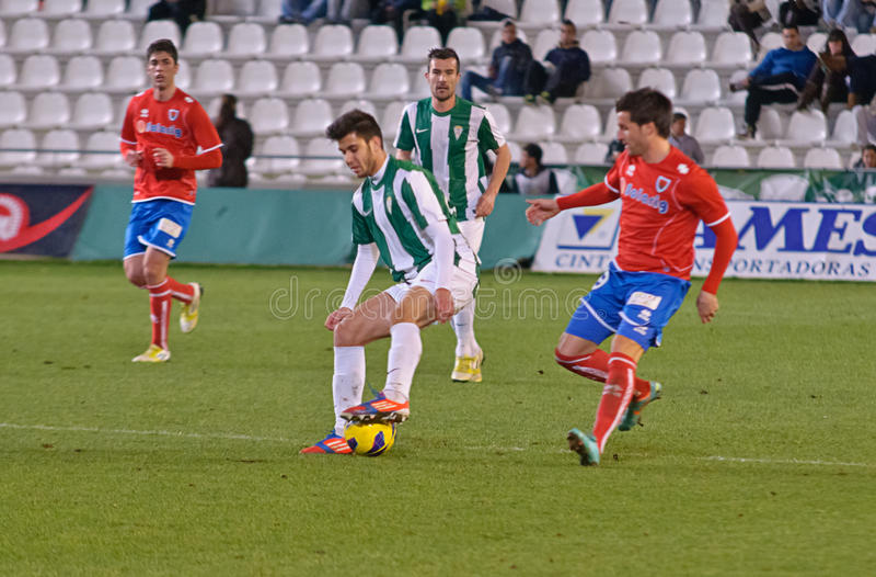 Fede Vico W(29) in action during match league Cordoba(W) vs Numancia (R). CORDOBA, SPAIN - JANUARY 13:Fede Vico W(29) in action during match league Cordoba(W) vs stock photos